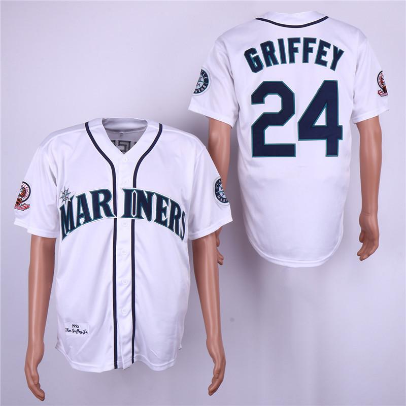 Mariners 24 Ken Griffey Jr. White 1995 Throwback Jersey