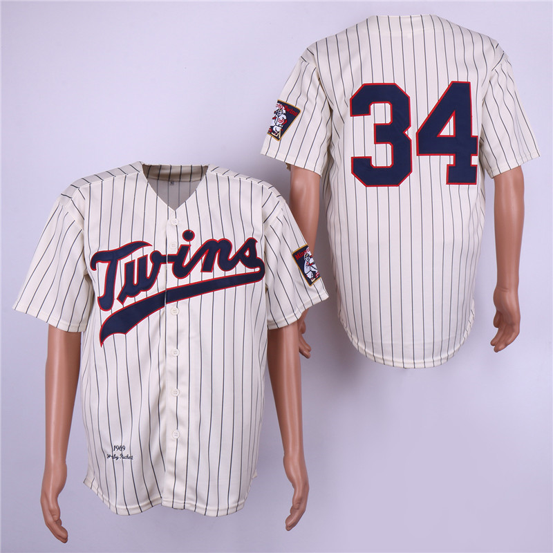 Twins 34 Kirby Puckett Cream 1969 Throwback Jersey