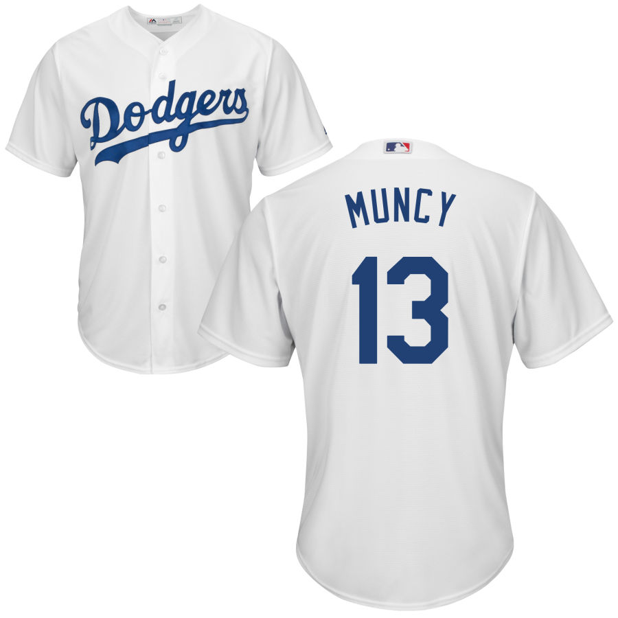 Dodgers 13 Max Muncy White Cool Base Jersey