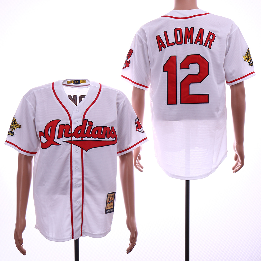 Indians 12 Roberto Alomar Cooperstown Collection Cool Base Jersey