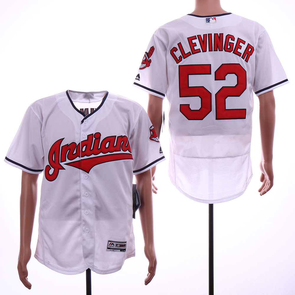 b2a8877eb uk indians 52 mike clevinger white flexbase jersey ffc8f 4703a