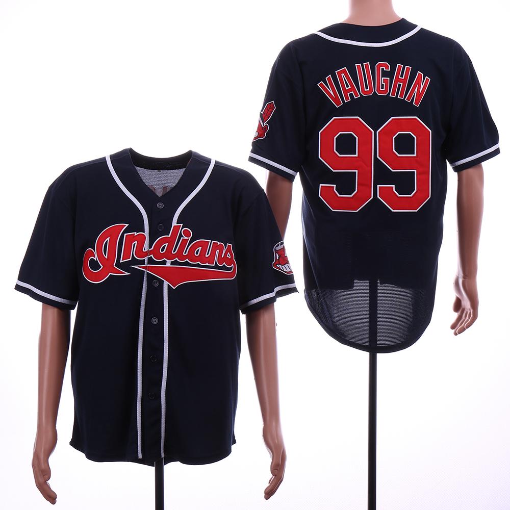 Indians 99 Ricky Vaughn Navy Throwback Jersey