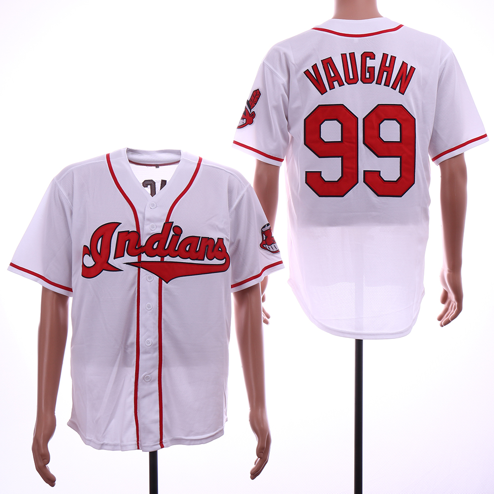 Indians 99 Ricky Vaughn White Throwback Jersey