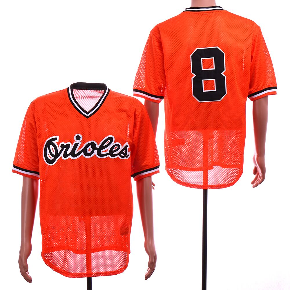 Orioles 8 Cal Ripken Jr Orange Mesh Throwback Jersey
