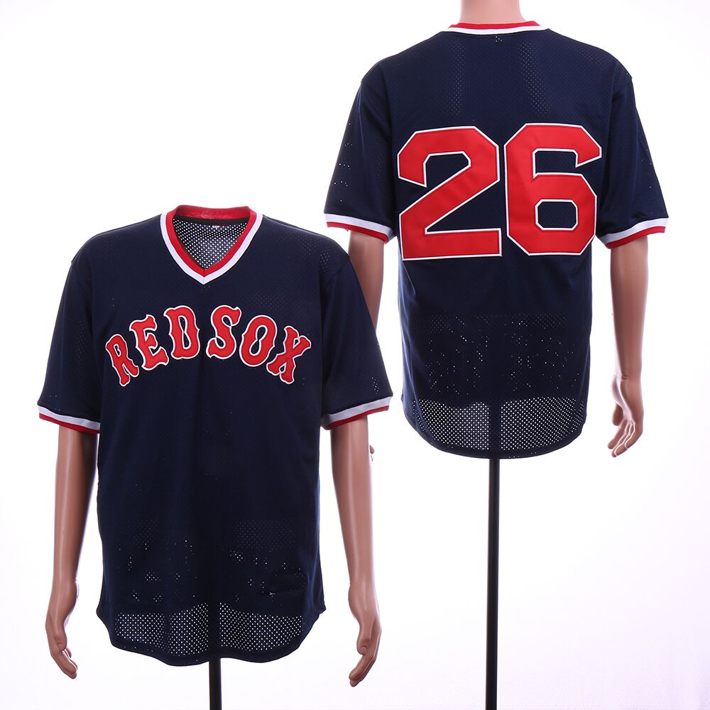 Red Sox 26 Wade Boggs Navy Mesh Throwback Jersey