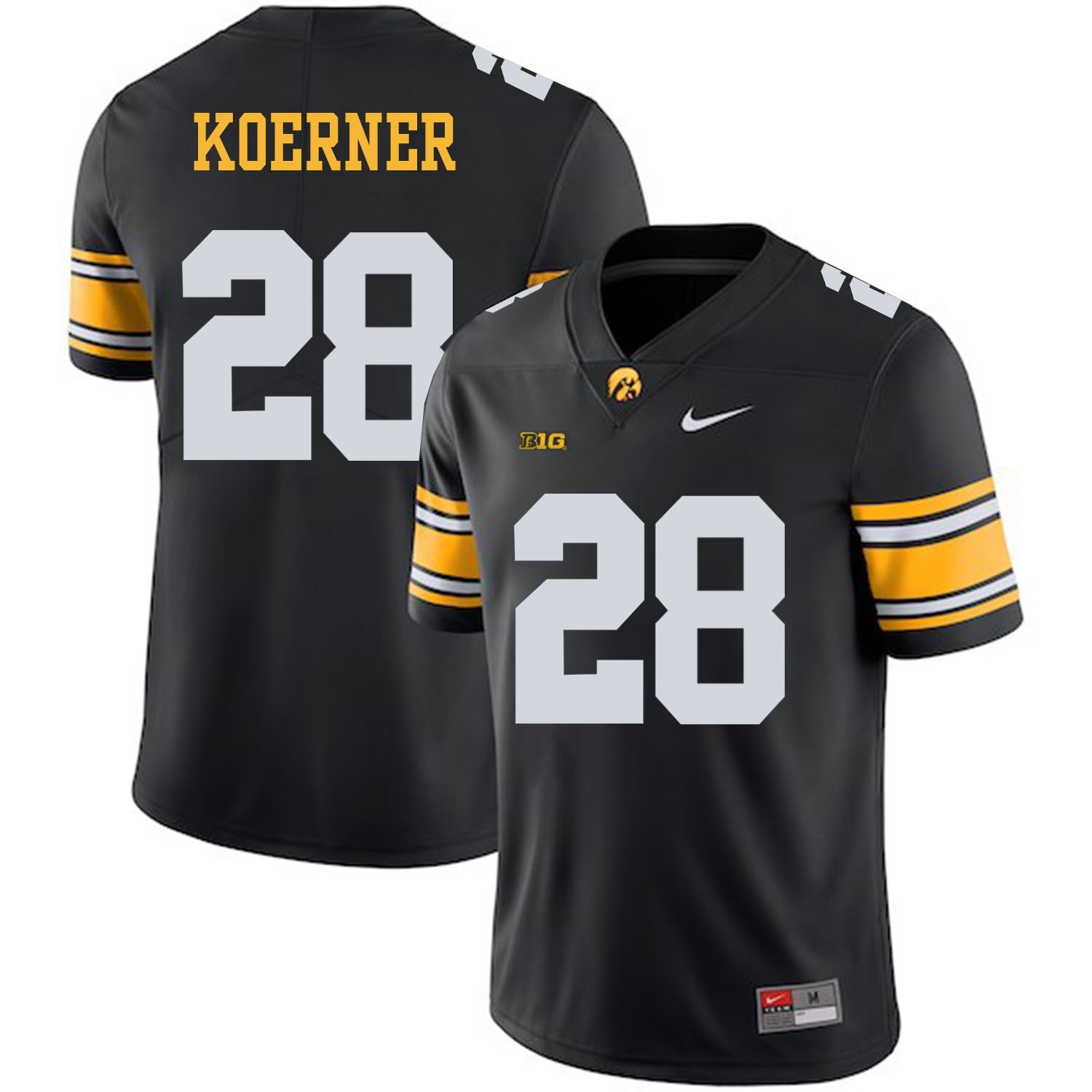 Iowa Hawkeyes 28 Jack Koerner Black College Football Jersey