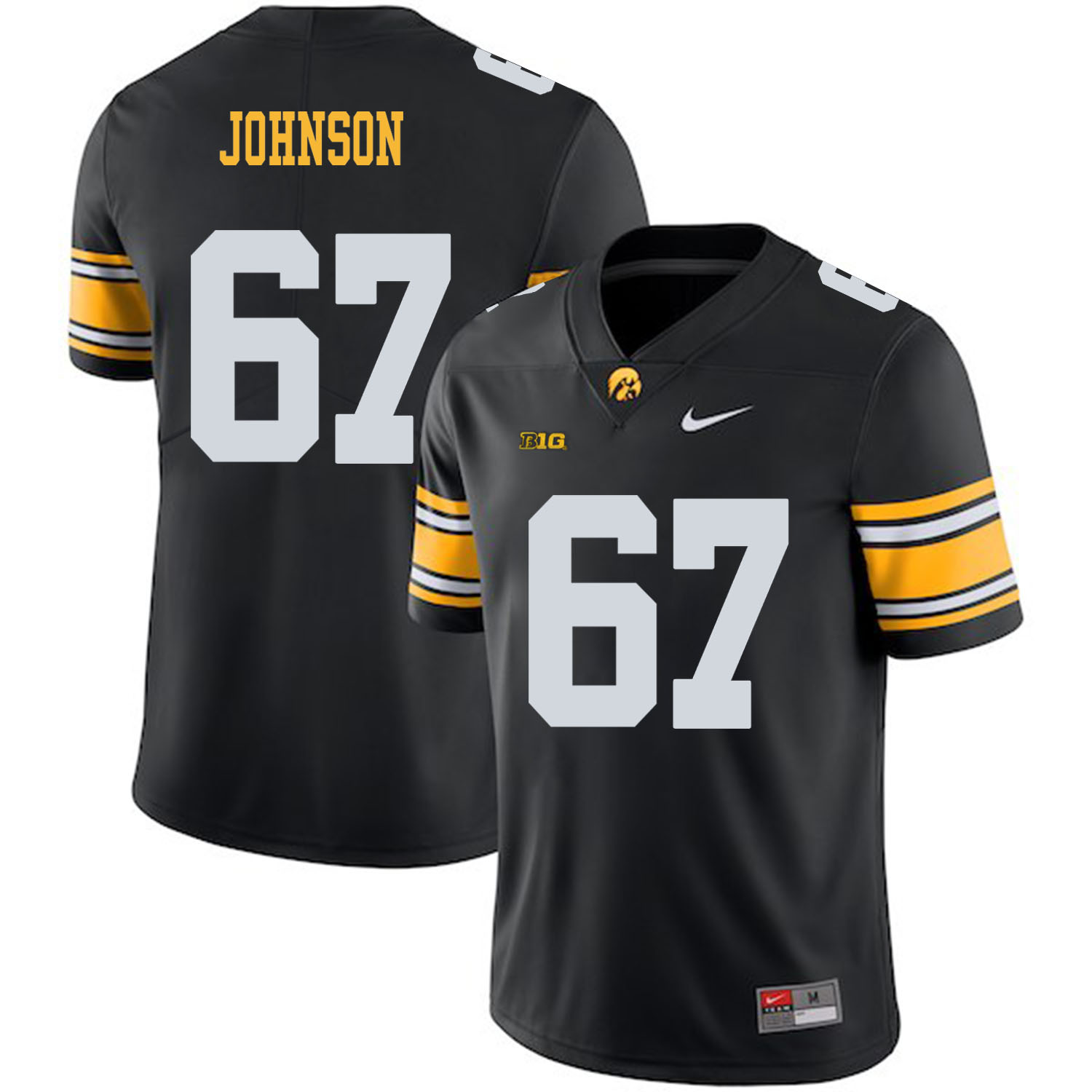 Iowa Hawkeyes 67 Jaleel Johnson Black College Football Jersey