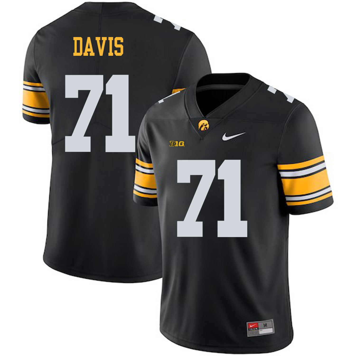 Iowa Hawkeyes 71 Carl Davis Black College Football Jersey