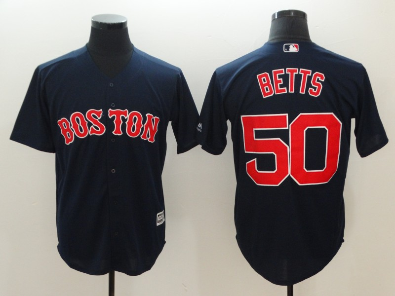 Red Sox 50 Mookie Betts Navy Cool Base Jersey