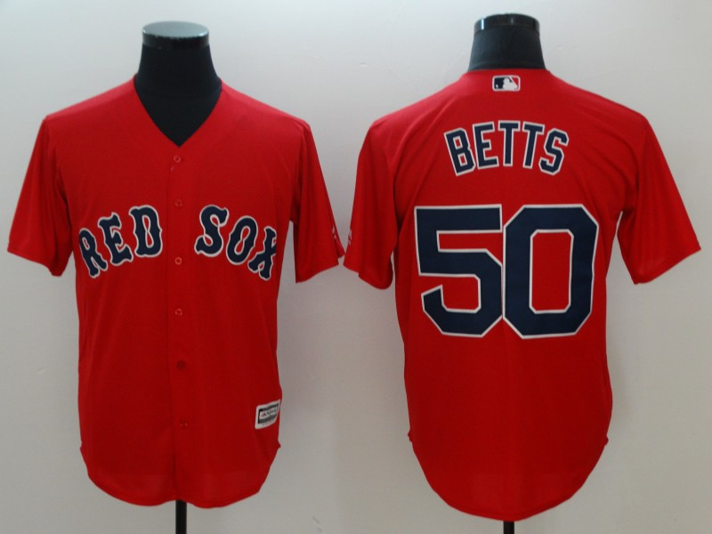 Red Sox 50 Mookie Betts Red Cool Base Jersey