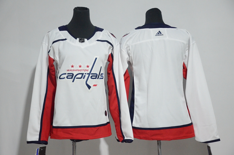Capitals Blank White Women Adidas Jersey