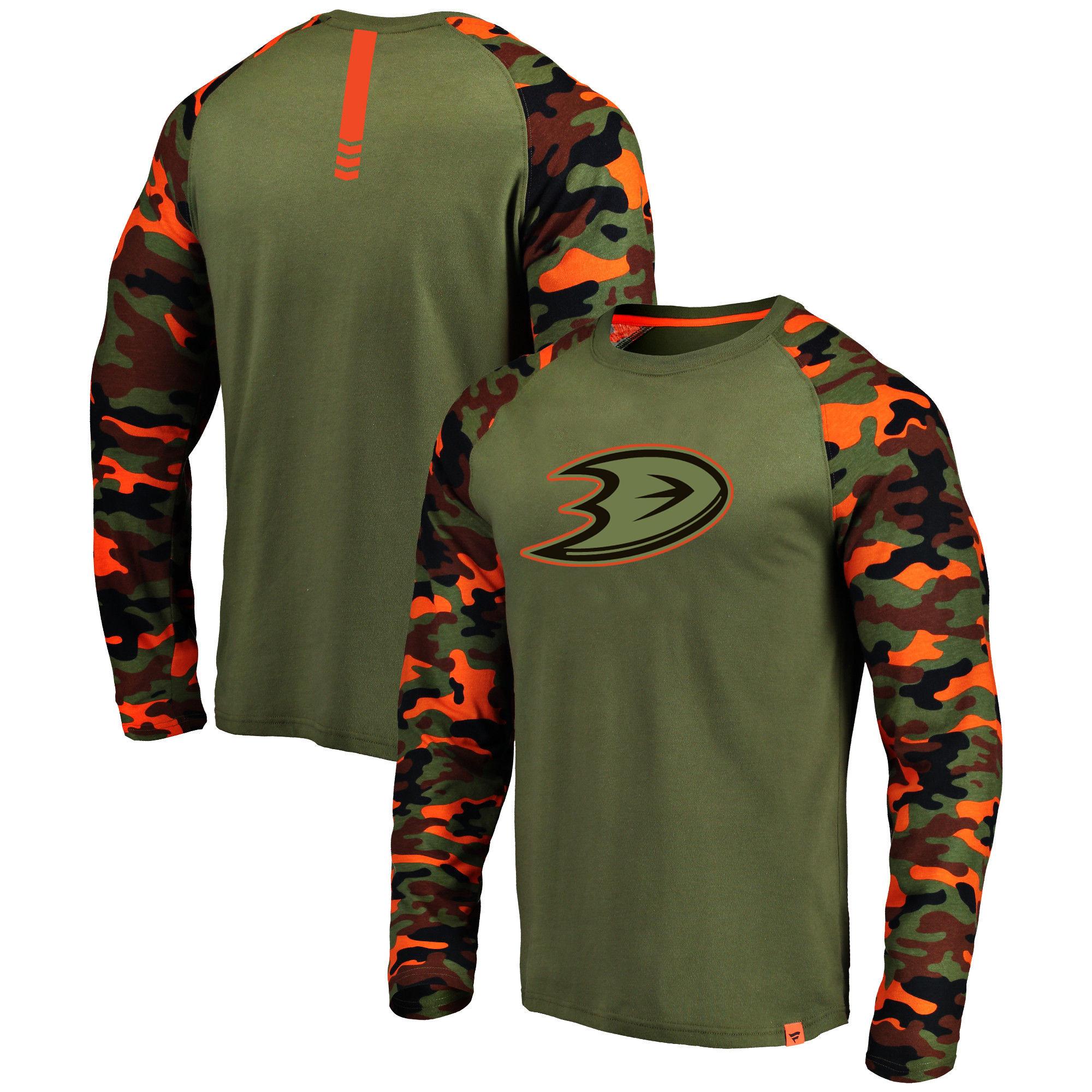 Anaheim Ducks Fanatics Branded Olive/Camo Recon Long Sleeve Raglan T-Shirt