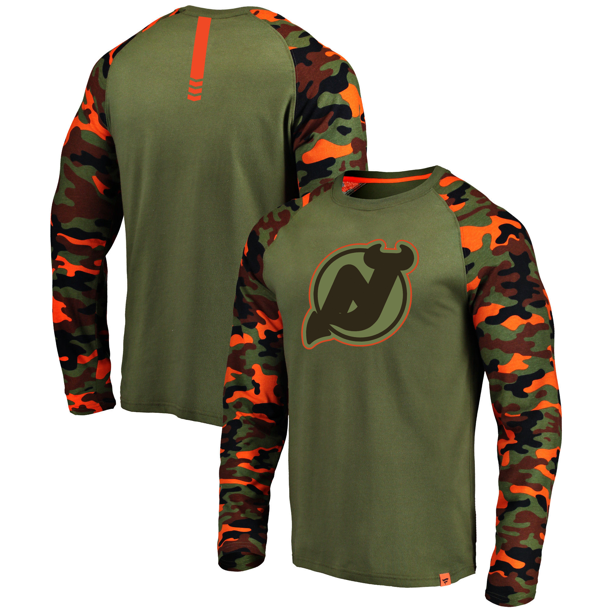 New Jersey Devils Fanatics Branded Olive/Camo Recon Long Sleeve Raglan T-Shirt