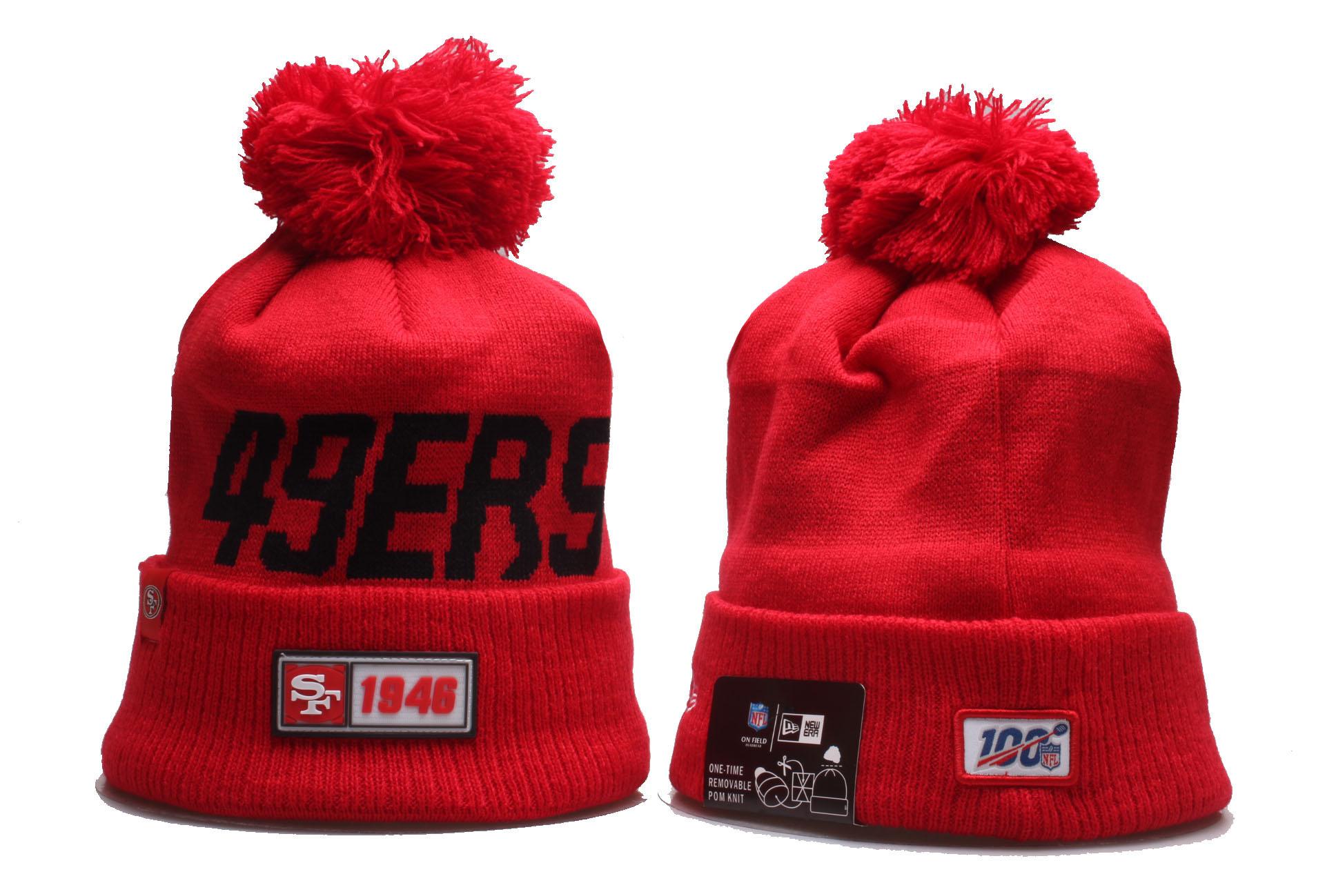 49ers Team Logo Red 100th Season Cuffed Pom Knit Hat YP