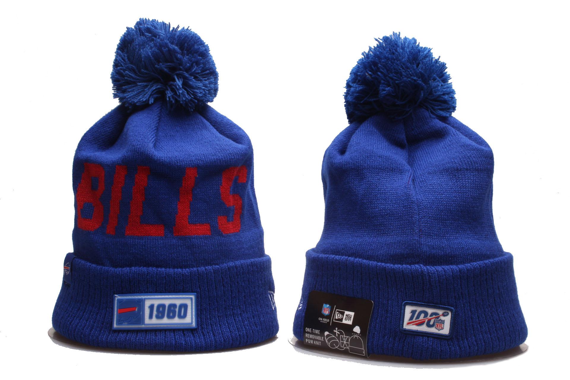 Bills Team Logo Blue 100th Season Cuffed Pom Knit Hat YP