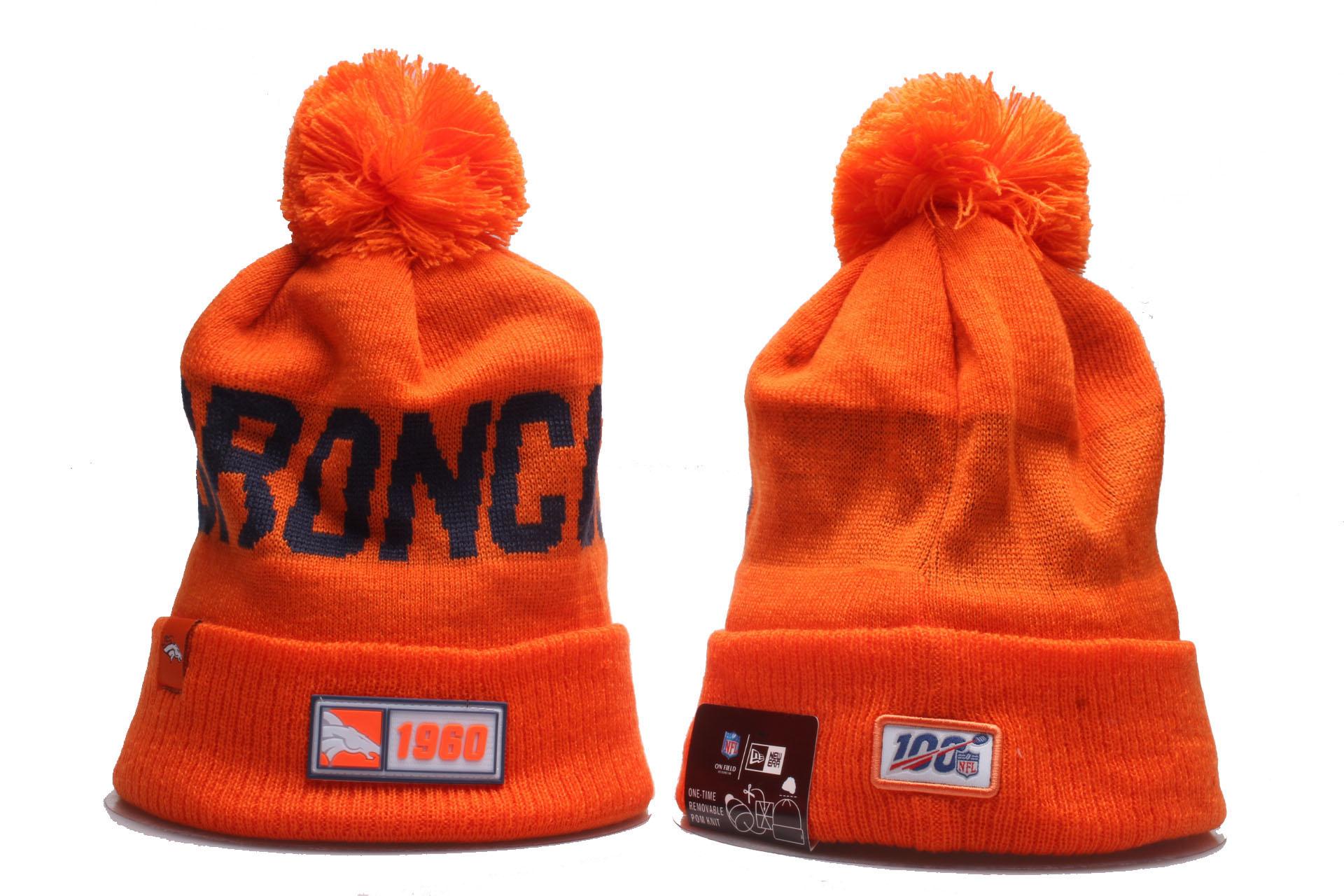 Broncos Team Logo Orange Cuffed Pom Knit Hat YP