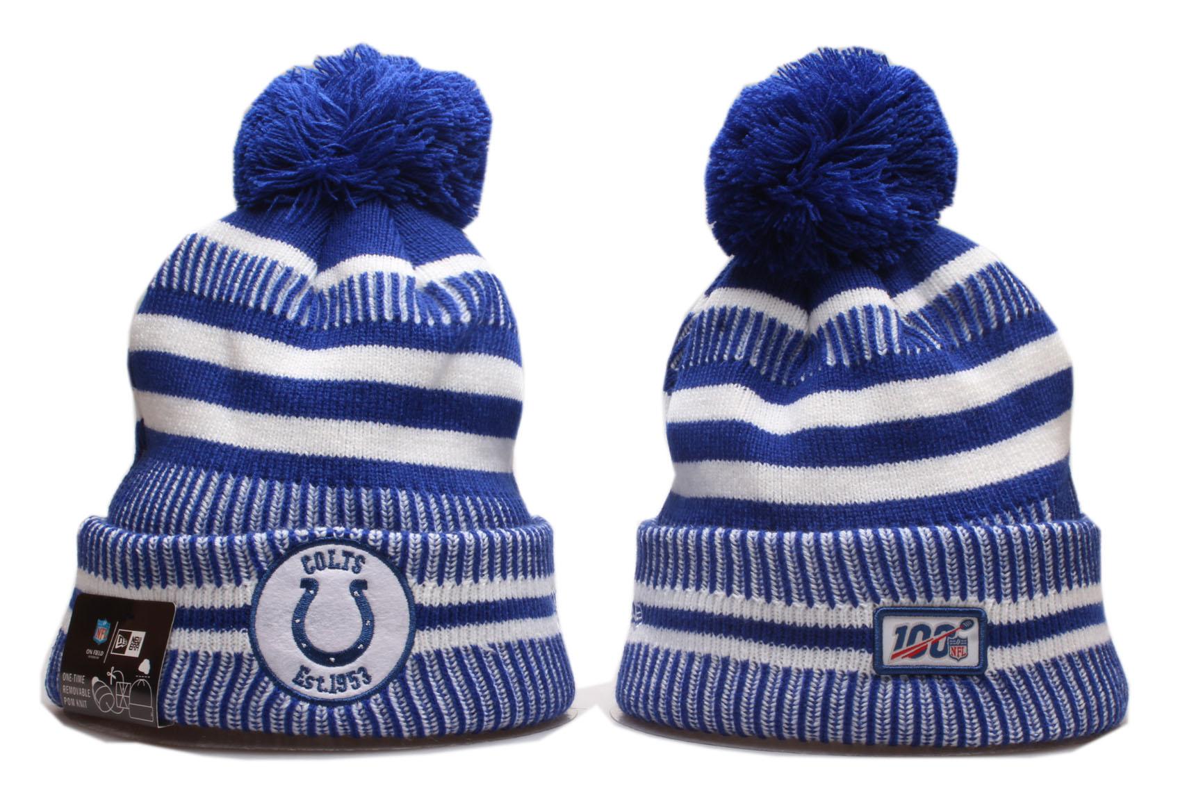 Colts Fresh Logo Blue 100th Season Cuffed Pom Knit Hat YP