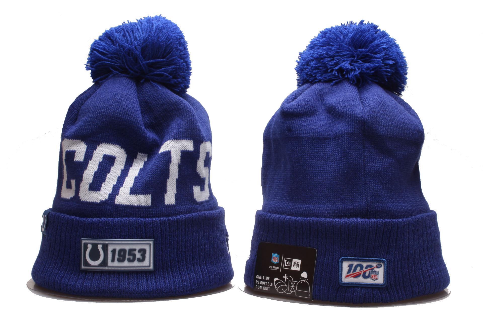 Colts Team Logo Blue 100th Season Cuffed Pom Knit Hat YP
