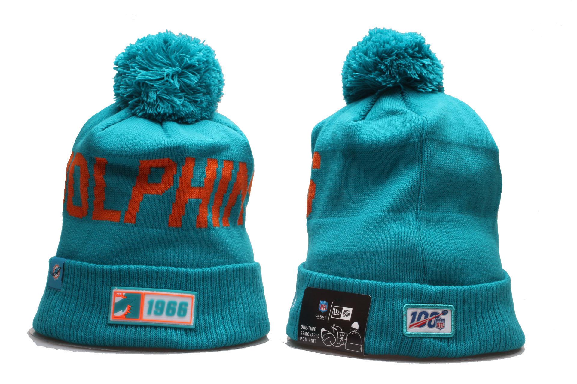 Dolphins Team Logo Aqua 100th Season Cuffed Pom Knit Hat YP