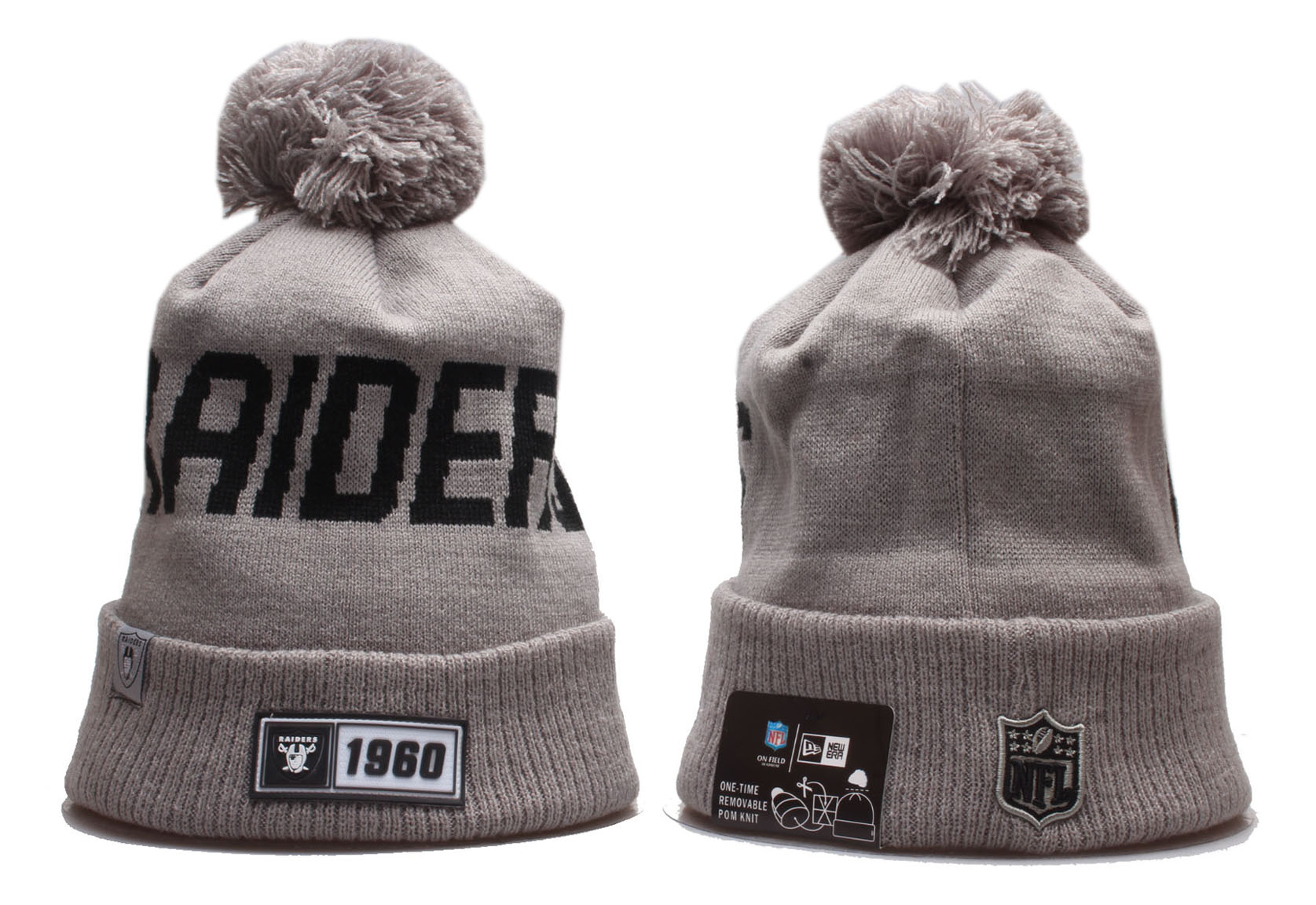 Raiders Team Logo Gray Cuffed Pom Knit Hat YP