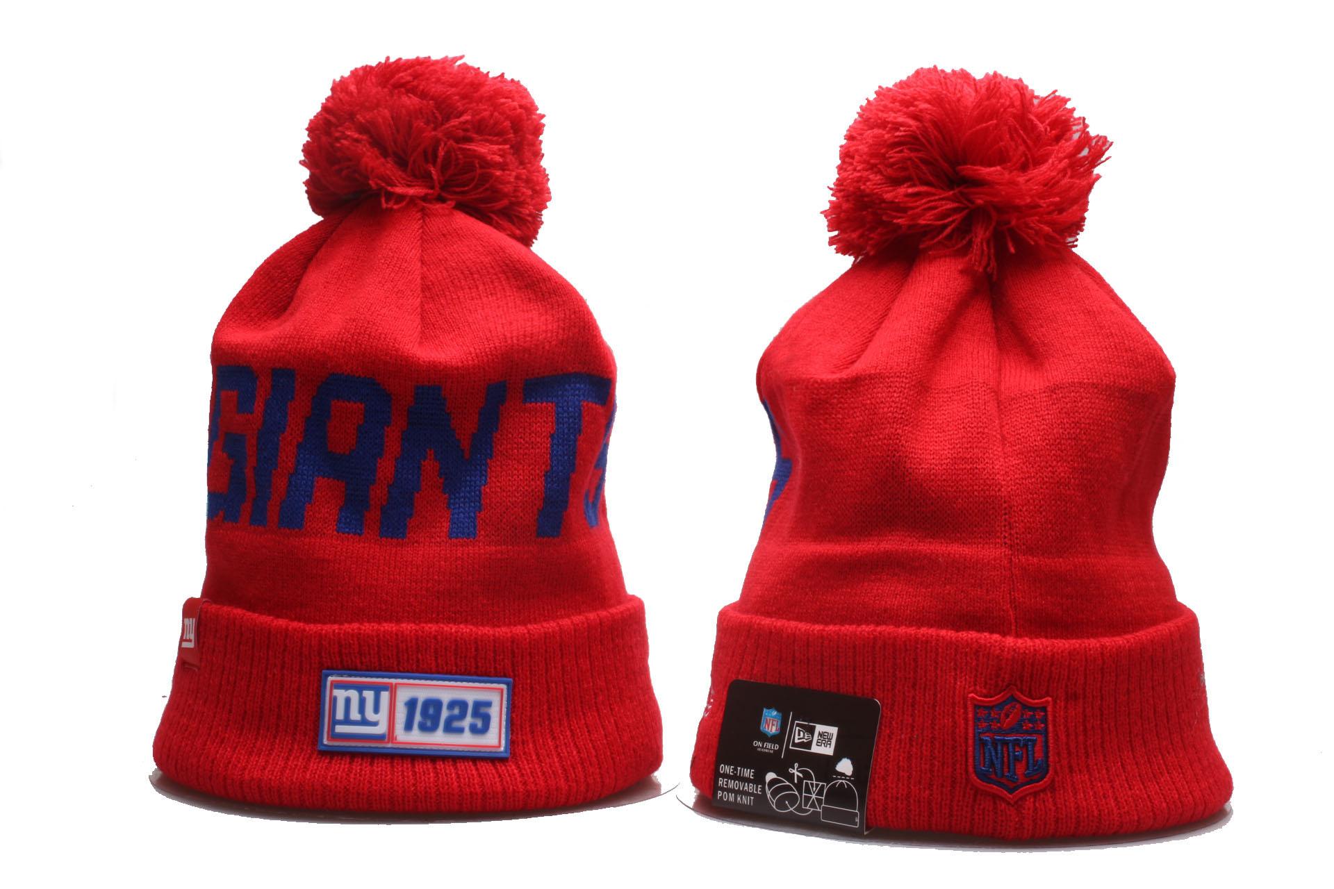 New York Giants Team Logo Red Cuffed Pom Knit Hat YP