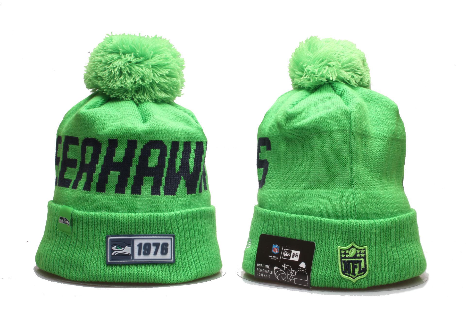 Seahawks Team Logo Green Cuffed Pom Knit Hat YP