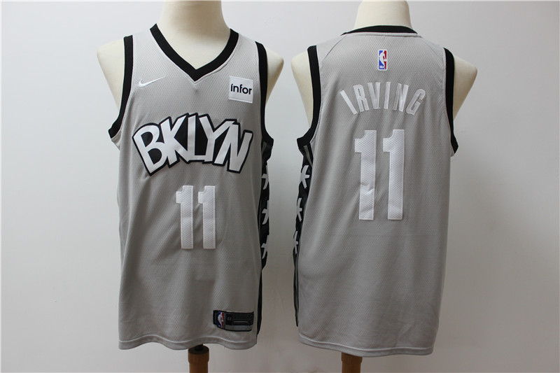 Nets 11 Kyrie Irving Gray Nike Swingman Jersey