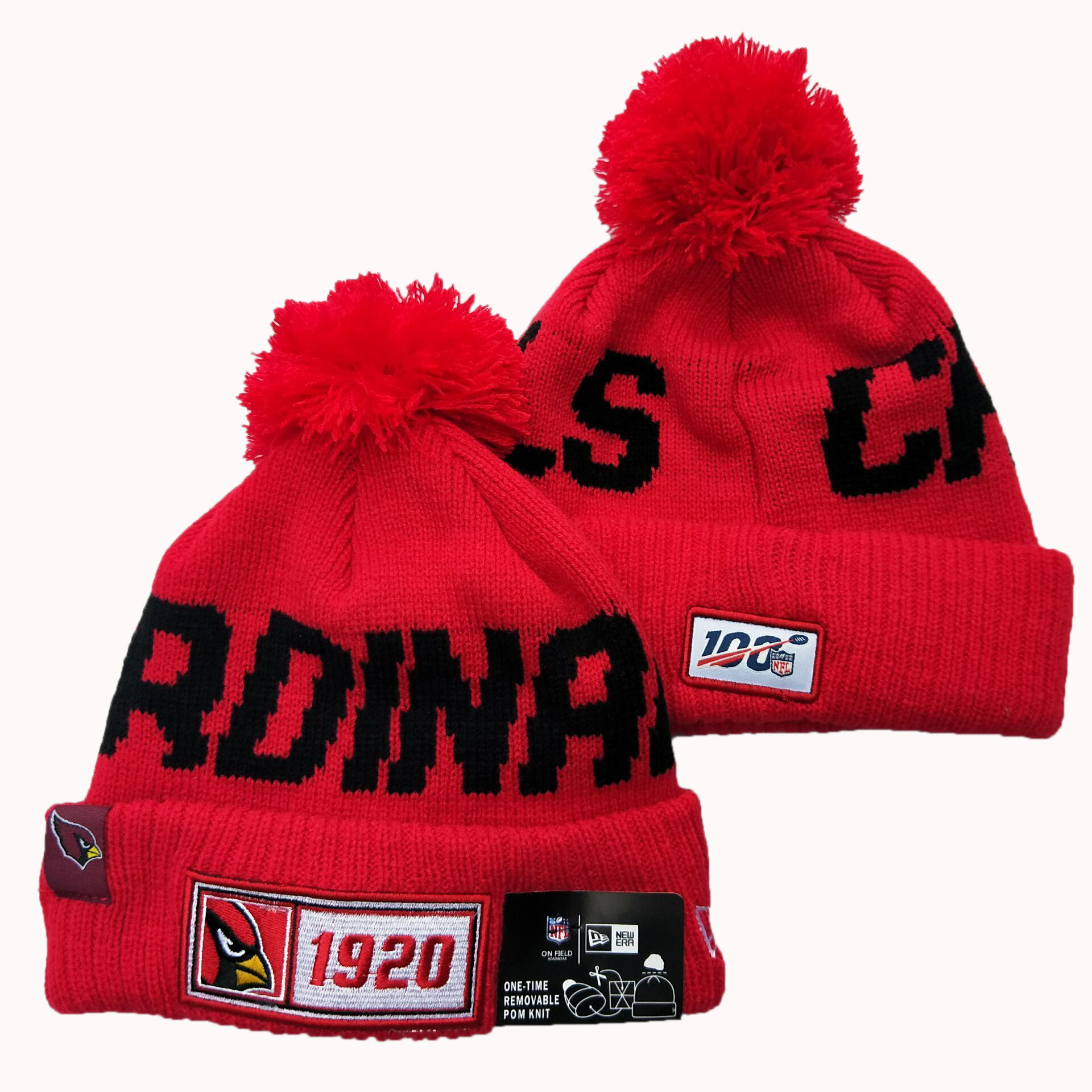 Arizona Cardinals Team Logo Red Pom Knit Hat YD