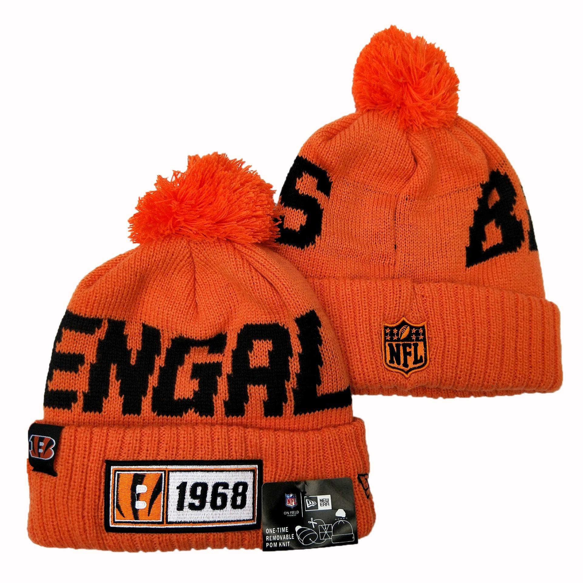Bengals Team Logo Orange Pom Knit Hat YD