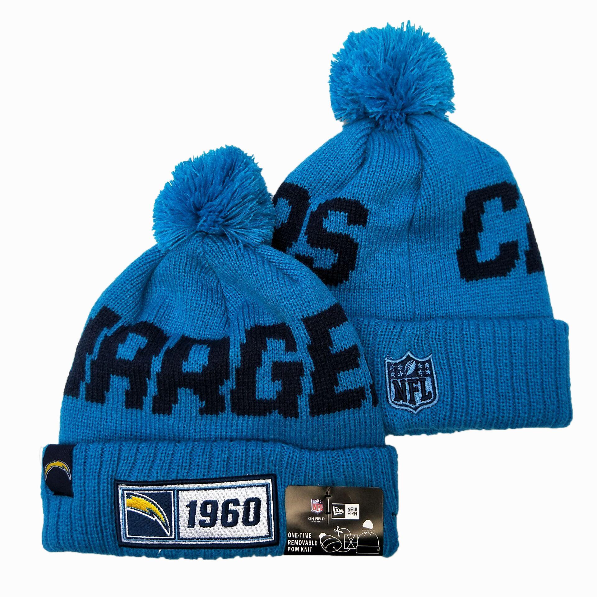 Chargers Team Logo Blue Pom Knit Hat YD