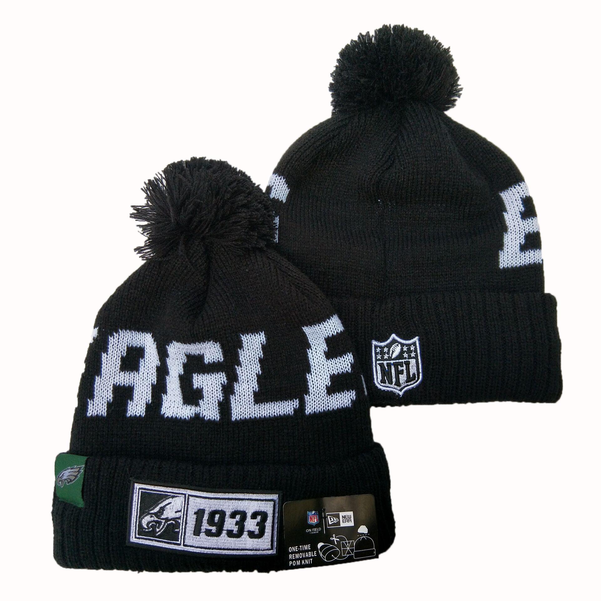 Eagles Fresh Logo Black Pom Knit Hat YD