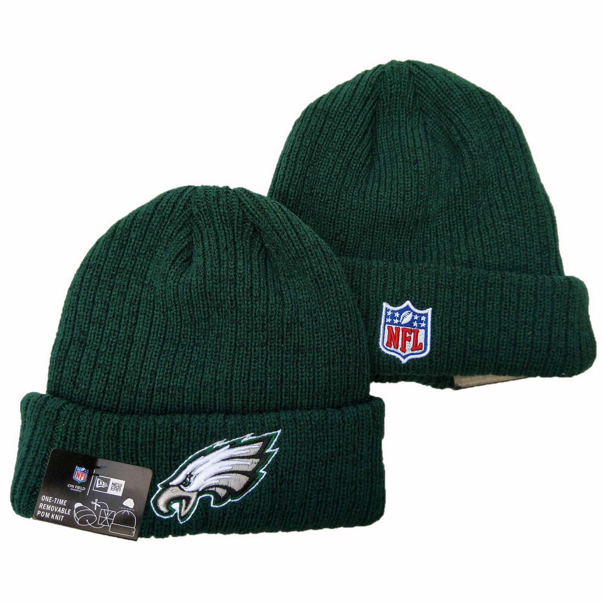 Eagles Team Logo Green Pom Knit Hat YD