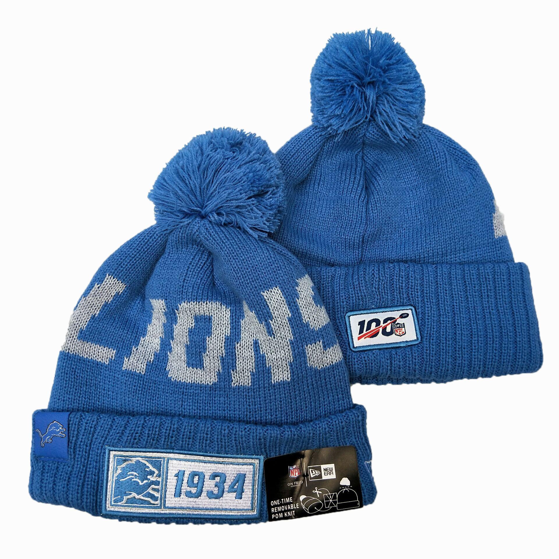 Lions Team Logo Blue 100th Season Pom Knit Hat YD