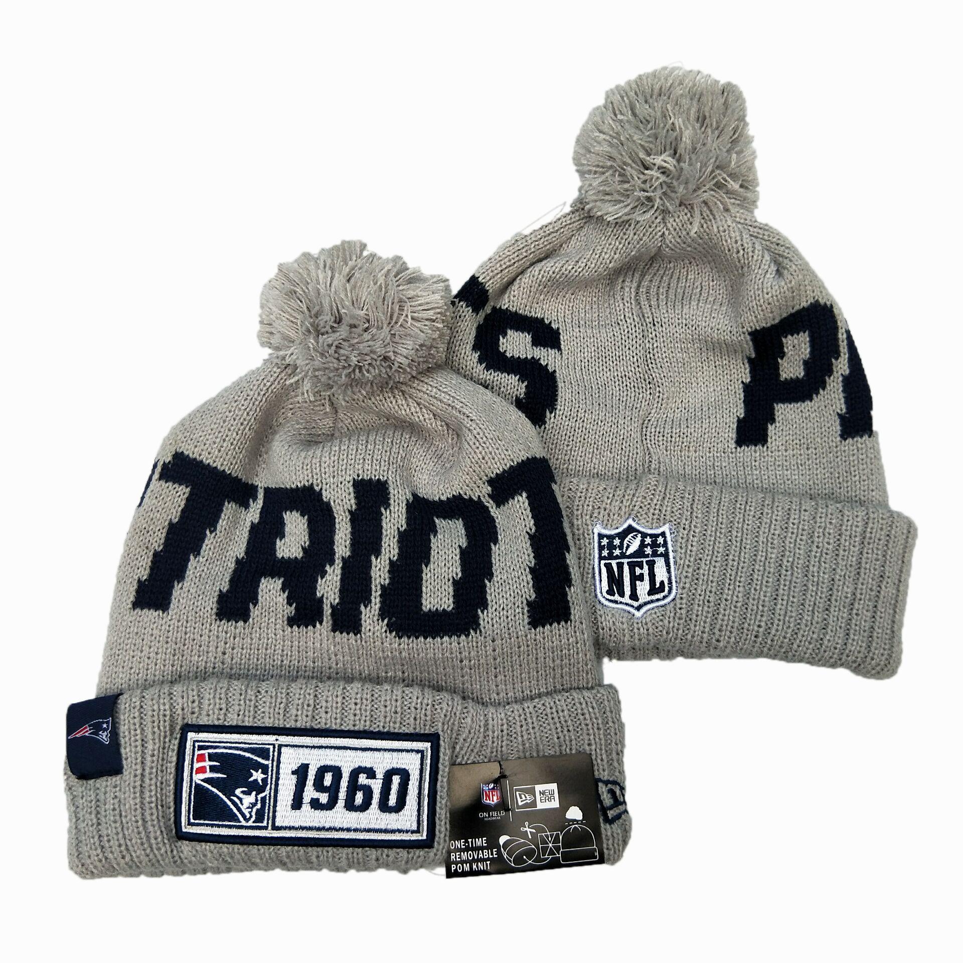 Patriots Team Logo Gray Pom Knit Hat YD