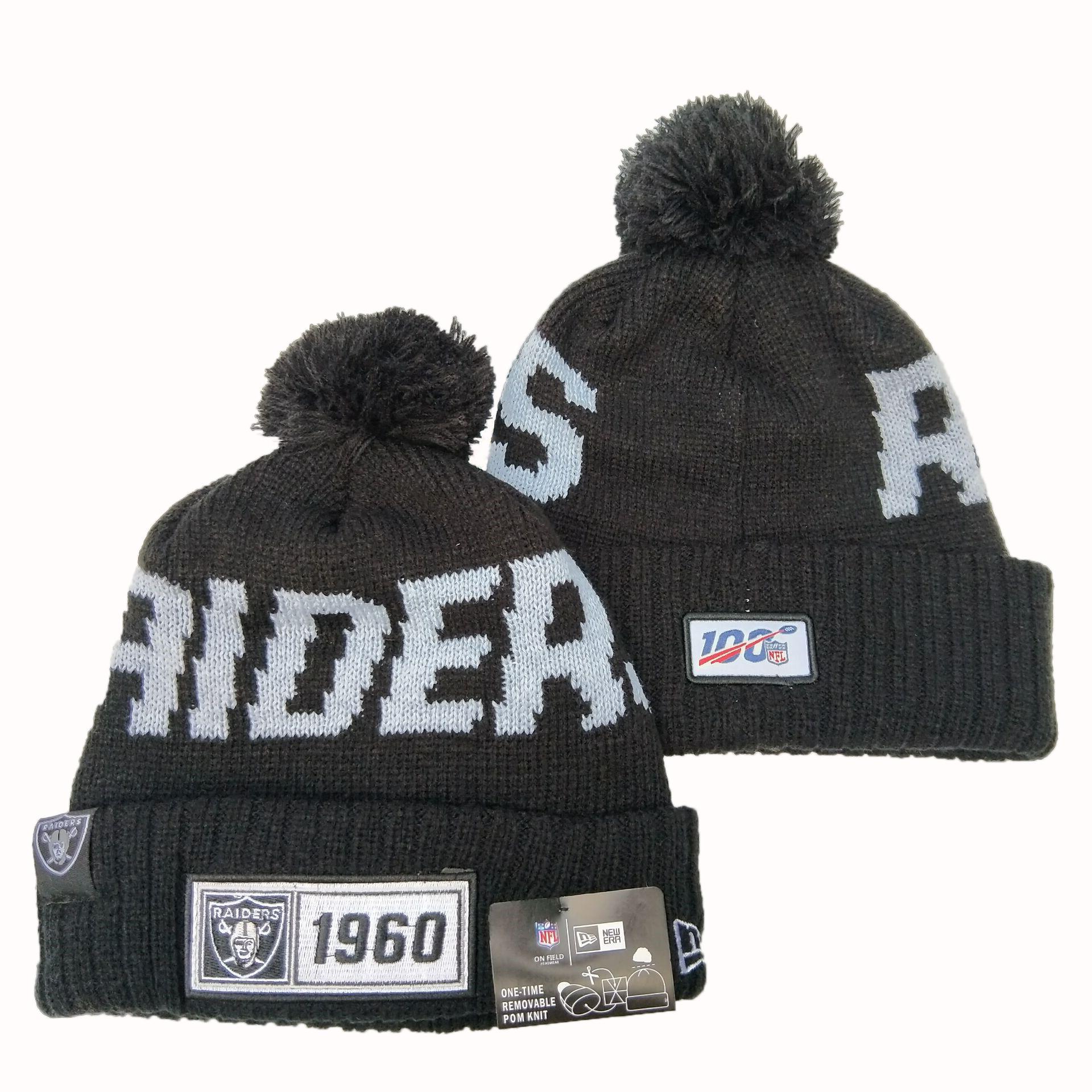 Raiders Team Logo Black 100th Season Pom Knit Hat YD