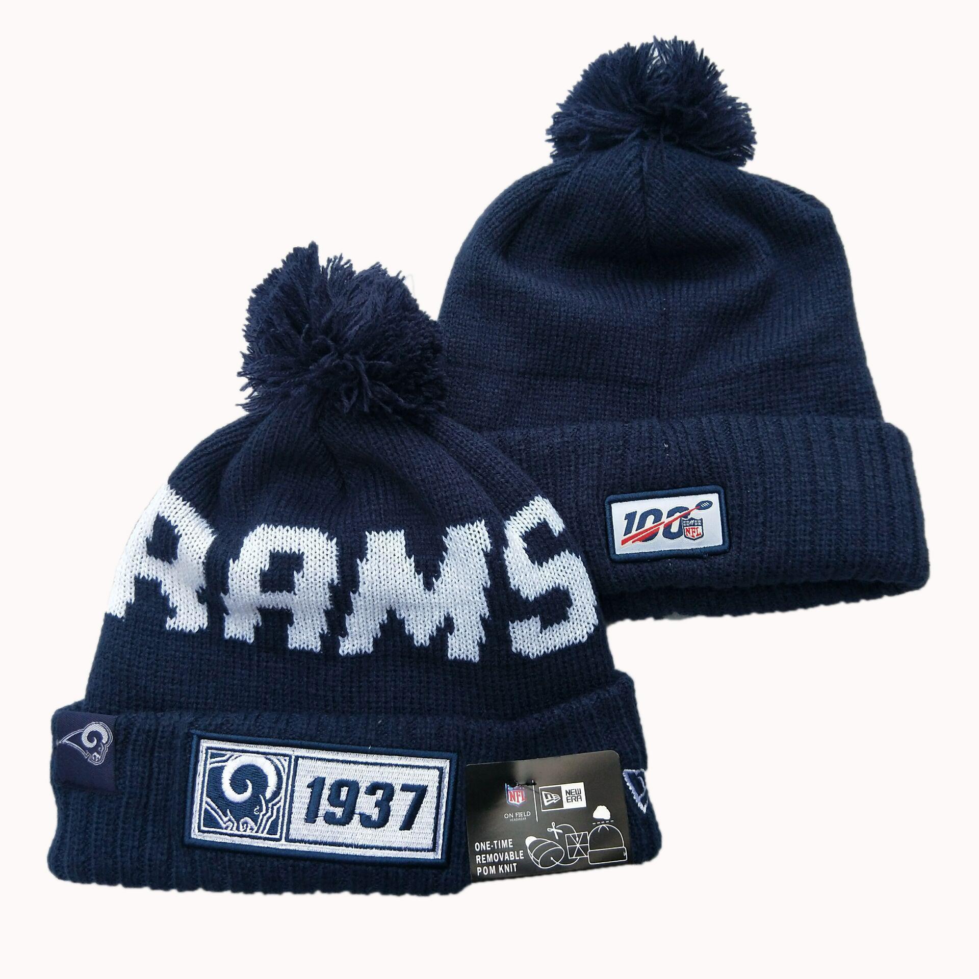 Rams Team Logo Navy Pom Knit Hat YD