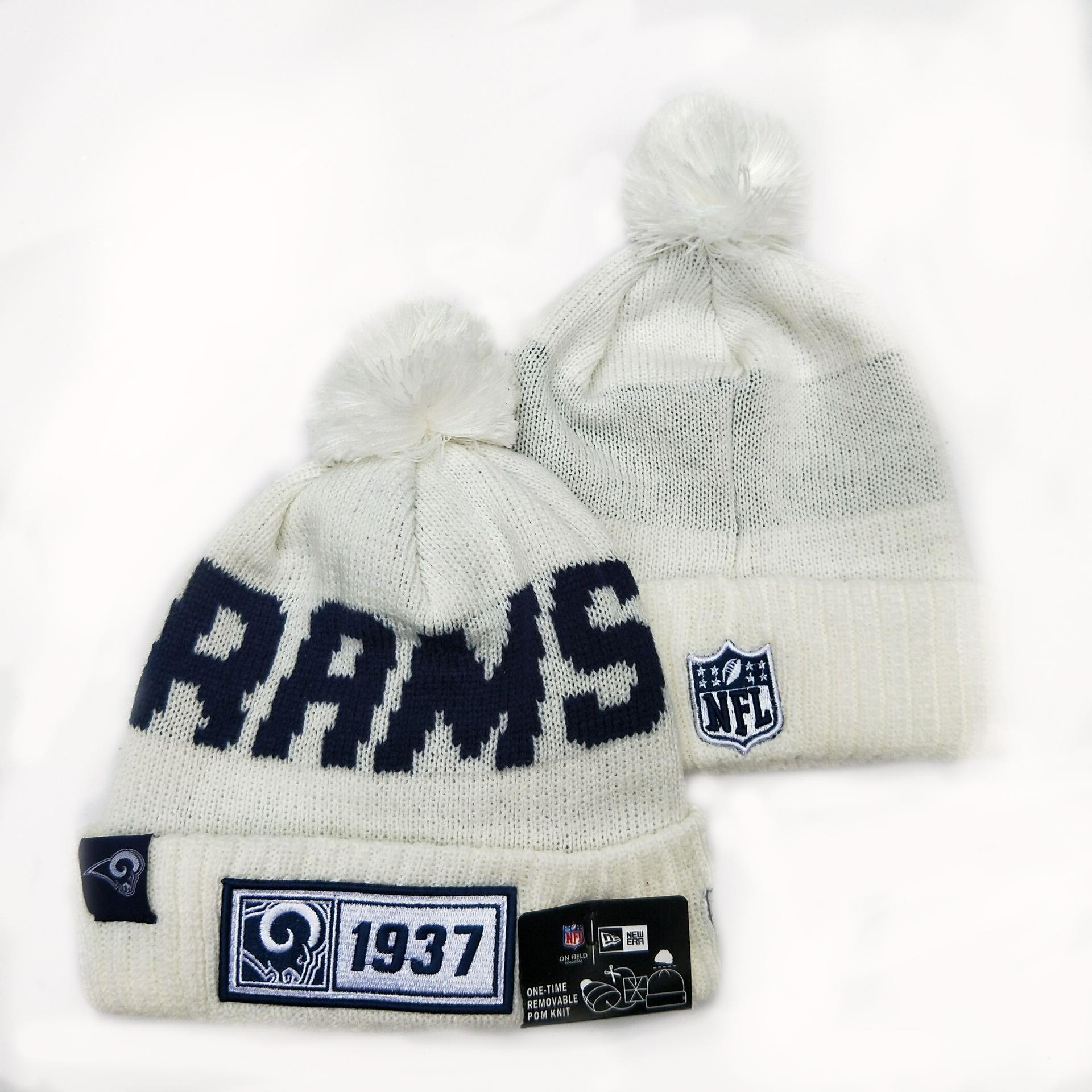 Rams Team Logo White Pom Knit Hat YD