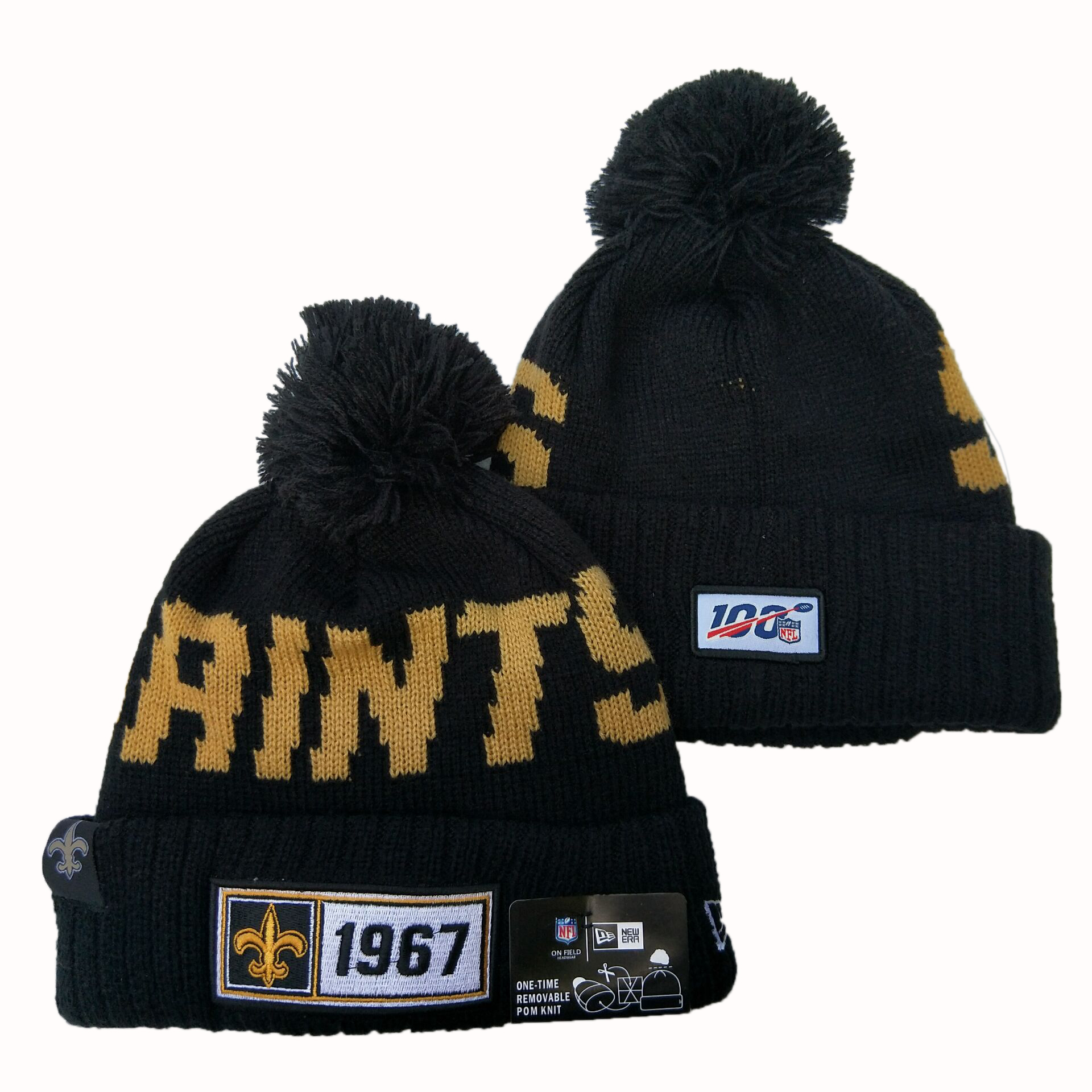 Saints Team Logo Navy 100th Season Pom Knit Hat YD