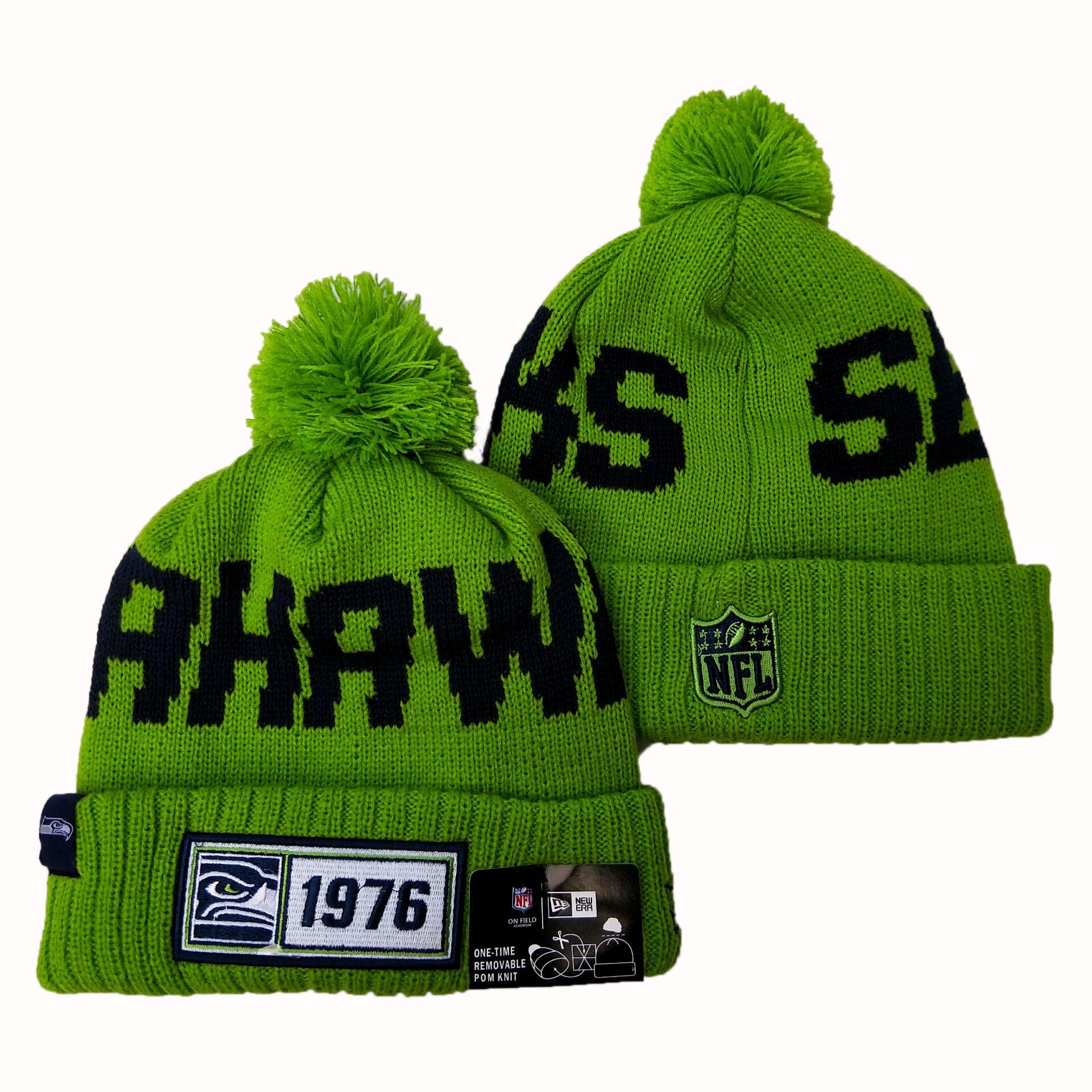 Seahawks Team Logo Green Pom Knit Hat YD