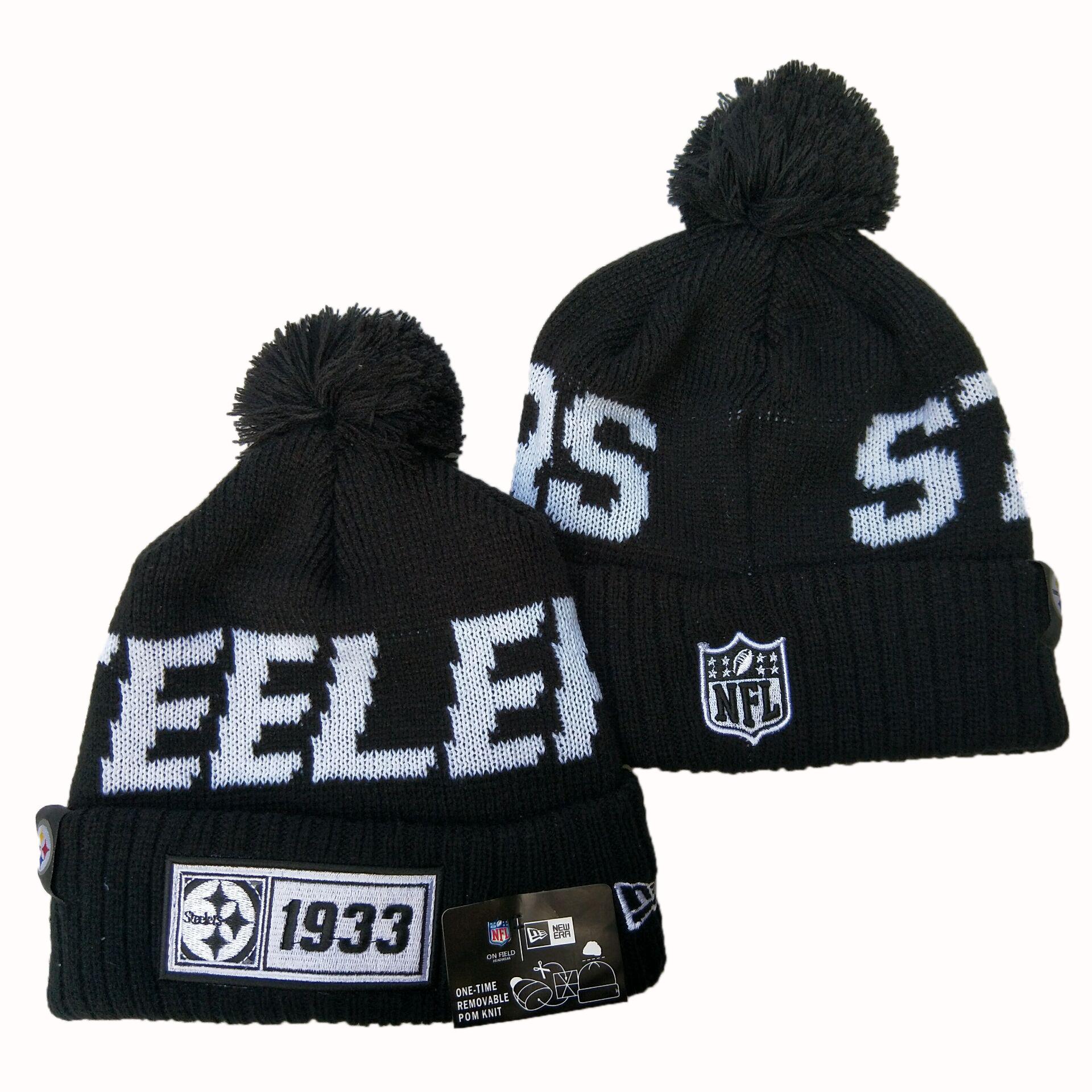 Steelers Team Logo Black Pom Knit Hat YD