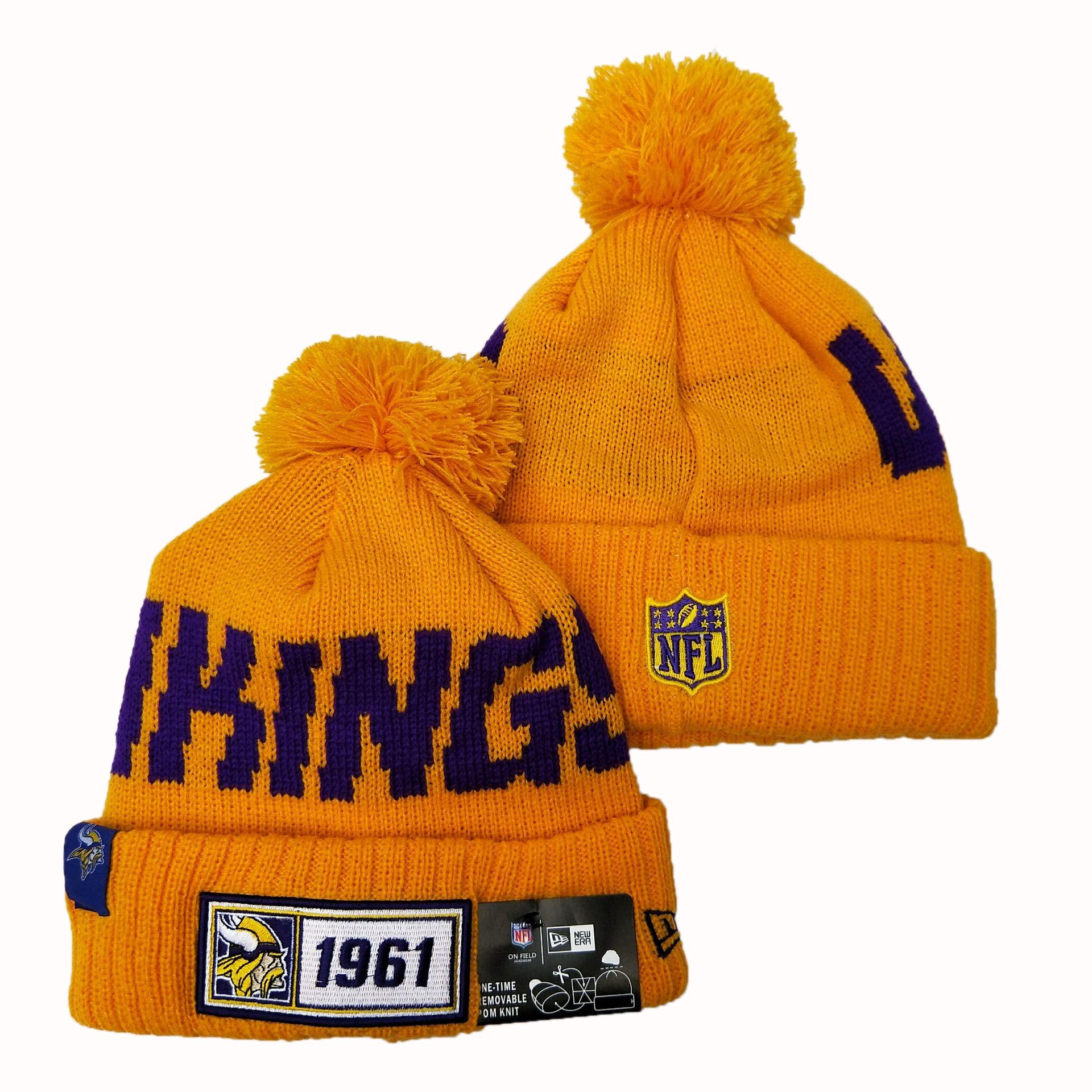 Vikings Team Logo Yellow Pom Knit Hat YD