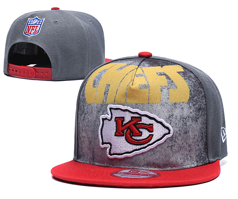 Chiefs Team Logo Gray Red Adjustable Hat TX