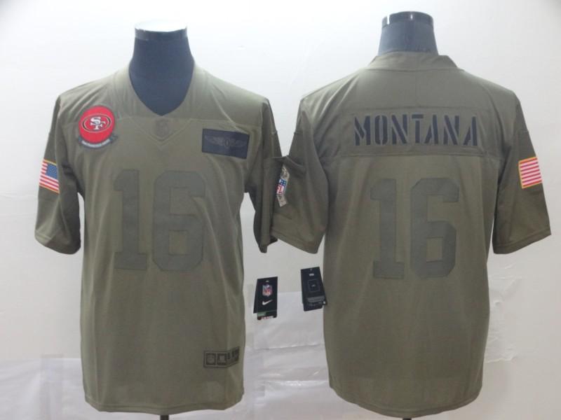 Nike 49ers 16 Joe Montana 2019 Olive Salute To Service Limited Jersey