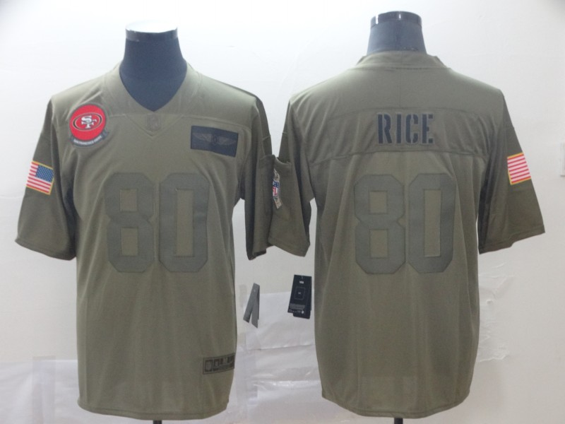 Nike 49ers 80 Jerry Rice 2019 Olive Salute To Service Limited Jersey
