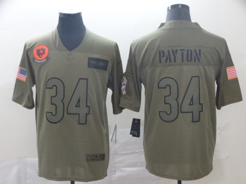 Nike Bears 34 Walter Payton 2019 Olive Salute To Service Limited Jersey