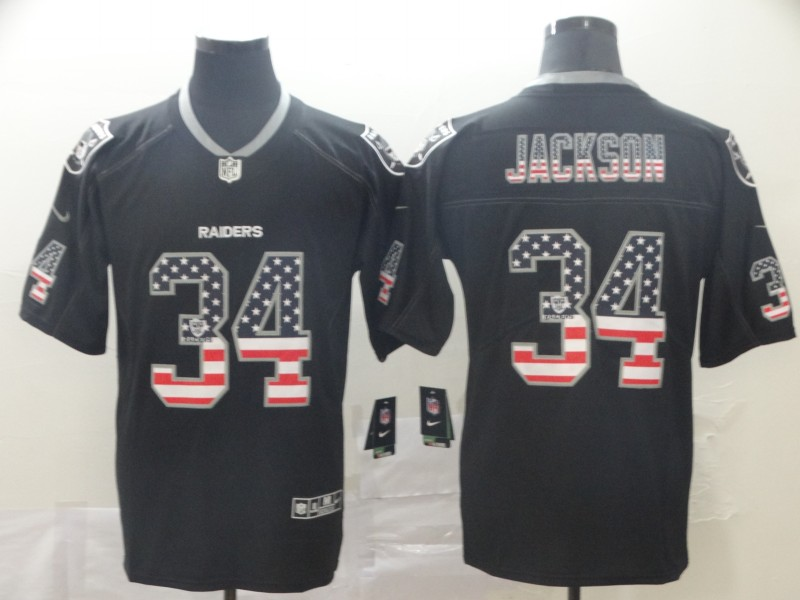 Nike Raiders 34 Bo Jackson Black USA Flag Fashion Limited Jersey