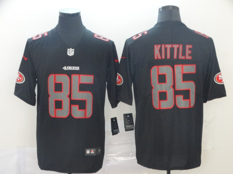 Nike 49ers 85 George Kittle Black Impact Rush Limited Jersey