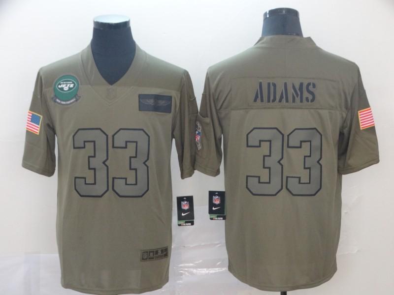 Nike Jets 33 Jamal Adams 2019 Olive Salute To Service Limited Jersey