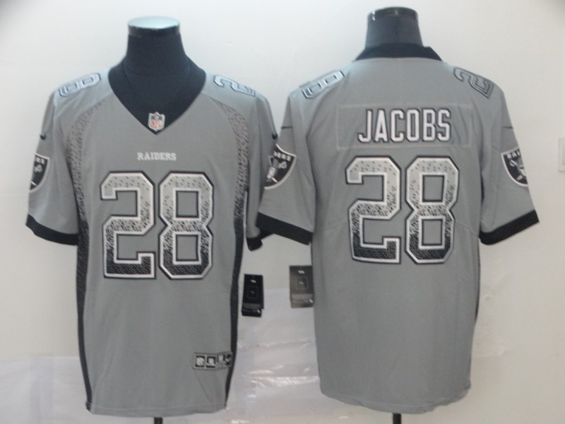 Nike Raiders 28 Josh Jacobs Gray Drift Fashion Limited Jersey