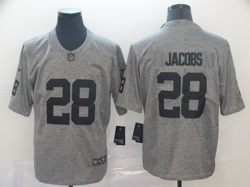 Nike Raiders 28 Josh Jacobs Gray Gridiron Gray Limited Jersey